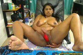 No Sound: Busty curvy BBW Indian babe masturbates