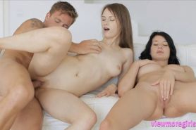 Lucy Li and Beata fucking their guest on the couch