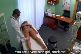 Doctor fucks blonde and gives creampie
