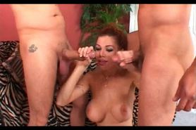 Chesty redhead gets pumped hardcore in 3some