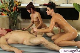Horny couples 3some at the massage spa