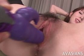 Small tits asian gets her wet pussy stretched