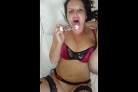 Horny babe masturbating and sucking