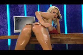Bimbo Danni Harwood chat on TV tabletop