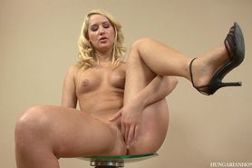 Casting call blonde fingering her pussy