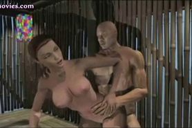 Animated sexy girl takes a cock