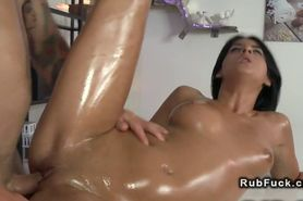 Perfect ass brunette gets massage and fuck