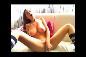 Big tits babe masturbates with dildos