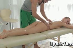 Skinny blonde natural-tits massage