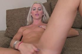 Blonde amateur gets creampie on couch