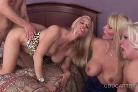 Hardcore gangbang with dirty cougars pussy nailed deep