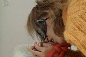 Teen Japanese girl eating cock gets cunt fingered