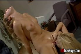 Hot lesbians get it on in the offic