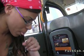 Interracial sex in British fake taxi in public