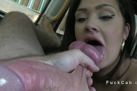 Tattooed British amateur fucked in fake taxi