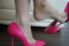 Dangling Heels in Nylon Feet