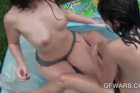 Smoking hot wet teens fucking and sharing dick in pool