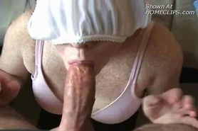 Panties on face -Blow job cum shot