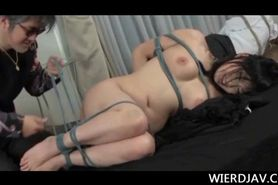 Busty Japanese girl gets roped and fucked hard