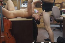 Brunette Pawn Her Mouth In Office