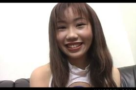 Teen Japanese cutie pussy rubbed at a porn movie castin