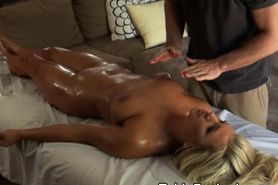 Pretty Blonde Oiled Up On Table