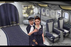 3D stewardess gets licked before sucking on a cock