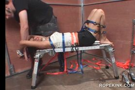 BDSM torture for nasty brunette nymph fucked while tied