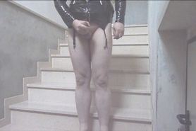 Jerking off on the stairs