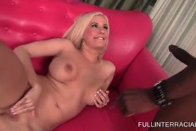 Blonde masturbates and blows black cock