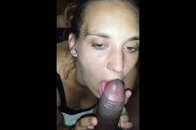 White slut eating a black dick