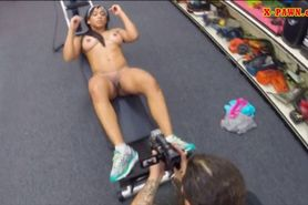 Big tits chick fucked in the pawnshop