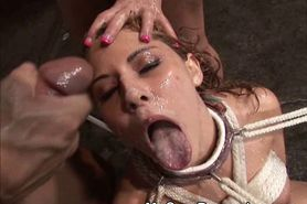 Tied Up Girl Taking Multiple Facials