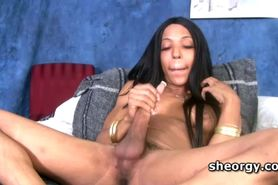 Tranny Asia sucking cock and jerking off