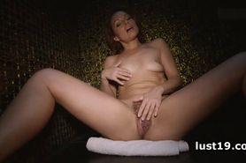 Silvia masturbates hairy twat in shower
