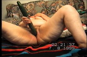 horny wife fucks herself with a cucumber