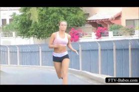 Teenage hot girl jogging topless outdoor