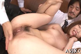 Uncouth Asian anal toying