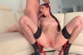 Redhead in fishnets eating cock while rubbing her pussy