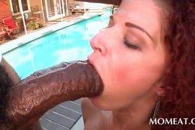 Outdoor blowjob and tugjob with slutty babe and giant d