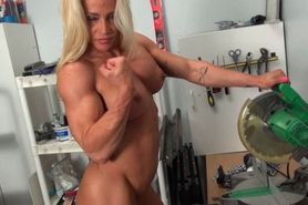 Blonde woman showing her muscle