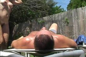 Hairy mature facesitting outside