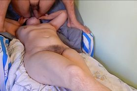 Hairy wife licking his asshole