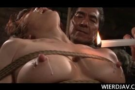 Roped Jap babes perky tits and wet cunt covered in hot