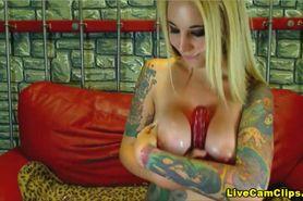 Big tits tattooed  blonde want some cum