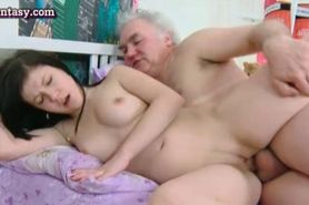 Teen cutie enjoying two old cocks