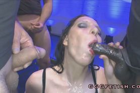Blowjob on black cock and piss from white cock