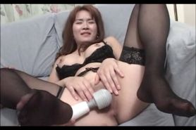 Stockinged Japanese hottie cunt fingered and vibed in c