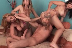 Teen stud dick ridden in cougar foursome