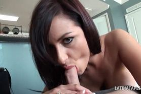 Latina beauty in peachy cunt having a taste of hard coc